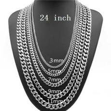 Steel, Stainless, Chain Necklace, Jewelry