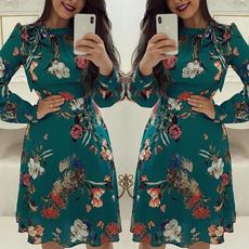 Summer, Print Dresses, Sleeve, long dress