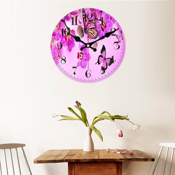 butterfly, diywallclock, Decor, Flowers