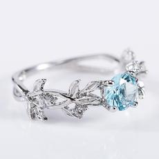 DIAMOND, leaf, wedding ring, 925 silver rings