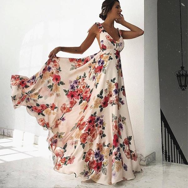 Ladies Fashion Sexy Elegant Dresses Summer Floral Female Maxi Dress Long Dress Wedding Dress Evening Party Dress Wish,Romantic Wedding Beautiful Wedding Dresses 2020