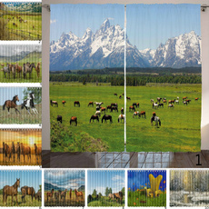 Mountain, horse, Shower Curtains, national