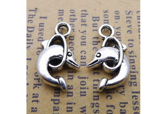 BULK 50 Dolphin charm spacer beads antique silver tone FF418