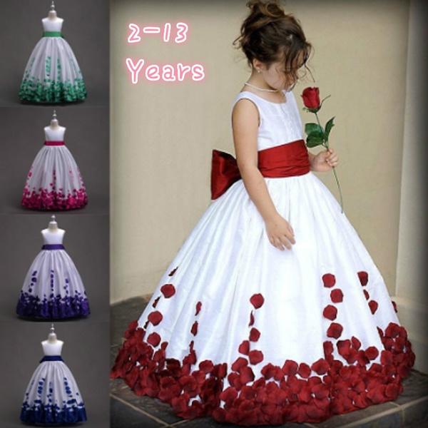 Girls Princess Long Dress Pageant Formal Flower Party Wedding Birthday Dresses