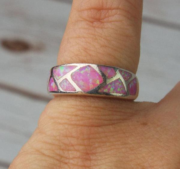 pink, Sterling, wedding ring, 925 silver rings