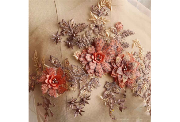 3D Lace Flower Embroidery Bridal Applique pearl Tulle DIY Wedding Bride Dress UK