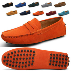 casual shoes, Flats & Oxfords, Slip-On, genuine leather