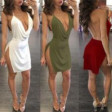 party, summer dress, clubwear, Deep V-neck Dress