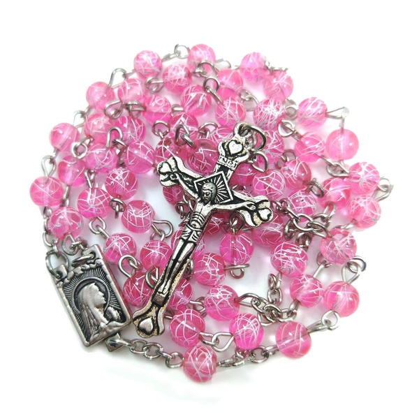 pink, rosary, Cross necklace, Rose