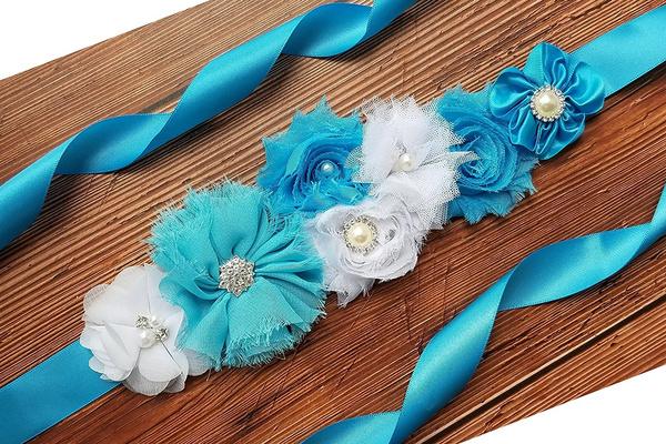 Blue And Turquoise Maternity Sash Belt Baby Showers Belt //Flower Girl Sash