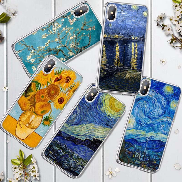 The Starry Night Van Gogh Cell Phone Case Vincent Van Gogh Oil Painting Cover Famous Paiting Series Shell for iPhone 11 11 Pro 11 Pro Max X Xs Xr Xs ...