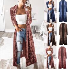 cardigan, velvet, Long Coat, Long Sleeve