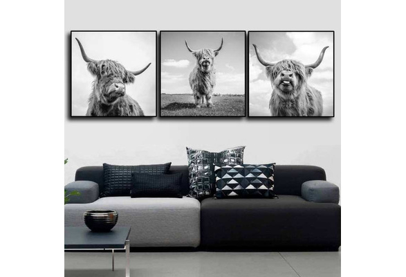Nordic Wall Art Poster Canvas Painting Cow Picture Yak Poster Living Room Decor