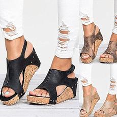 Summer, fashion women, heeled, leather shoes