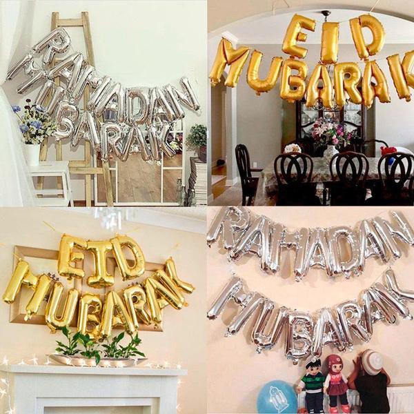 Festival Decoration Inflatable Toys Eid Mubarak Ramadan Mubarak Foil Balloons Balloons Home Garden