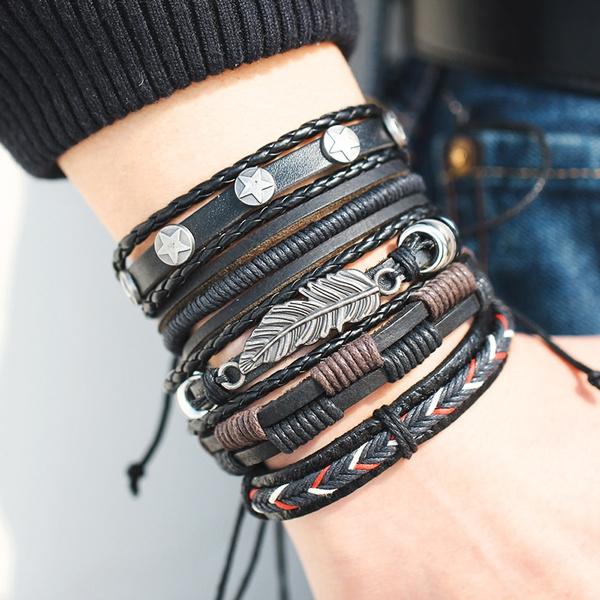 Fashion, Star, Leather Bracelet, Bracelet Charm
