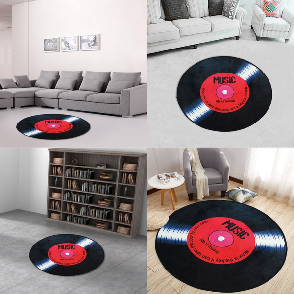 4 Sizes Vinyl Record Round Floor Mat Room Area Rugs Carpet Yoga Mat Roo