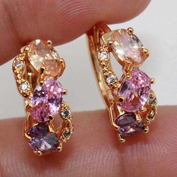 yellow gold, pink, Hoop Earring, Jewelry