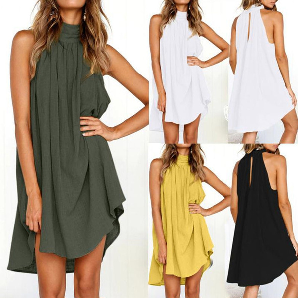 YOcheerful Womens Holiday Dresses Irregular Dress Ladies Summer Beach Sleeveless Party Dresses Formal Dresses