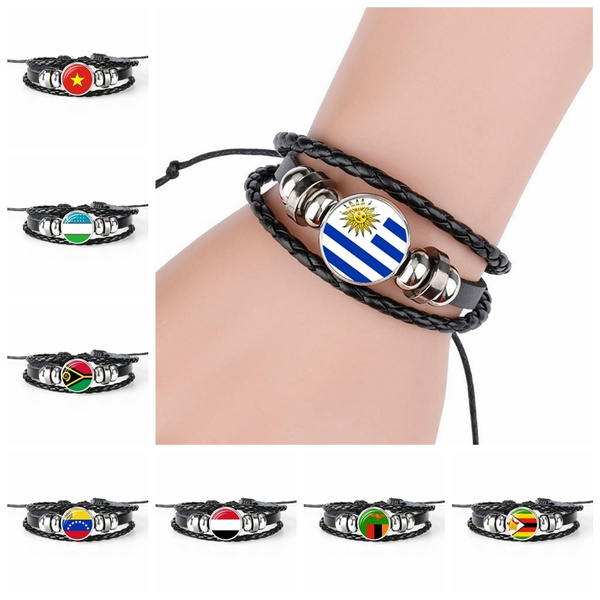 Charm Bracelet, blackleather, flagbracelet, nationalflag