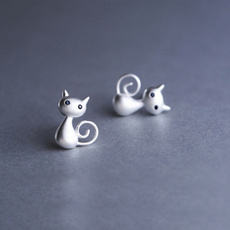 cute, Stud, cartooncat, ear studs