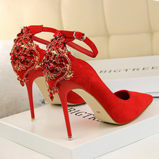 Shoes, With, shallow, Rhinestone