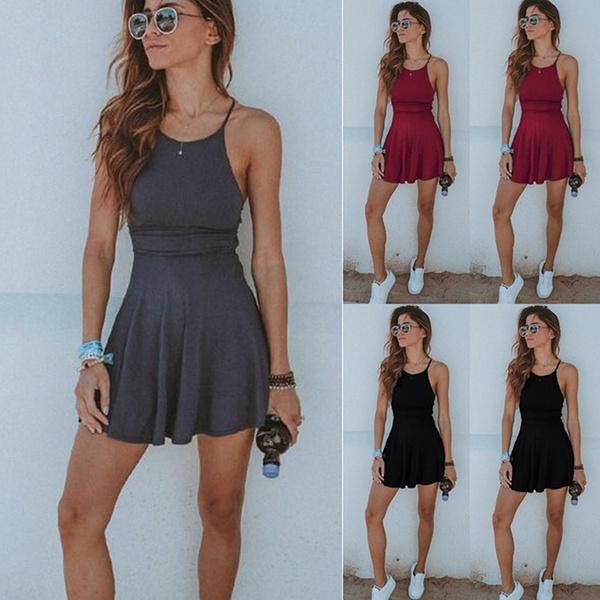 Summer, Shorts, halter dress, Mini