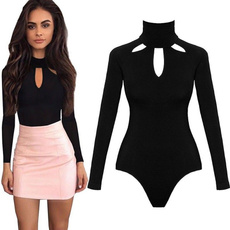 fall clothes women, Halter, Hollow-out, Long Sleeve