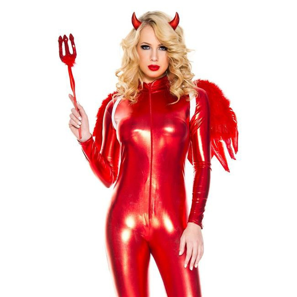 WILLBOND 4 Pack Halloween Devil Costume Set Reversible Cloak Devil Horn Headband Tail Devil Red Pitchfork
