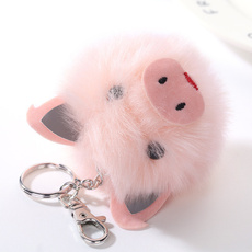 Keys, pompomkeychain, pigkeychain, Key Chain