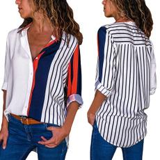 Stripes, Shirt, Sleeve, Women Blouse