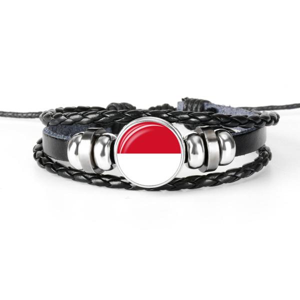 flagbracelet, flagjewelry, blackleatherbracelet, monacoflag