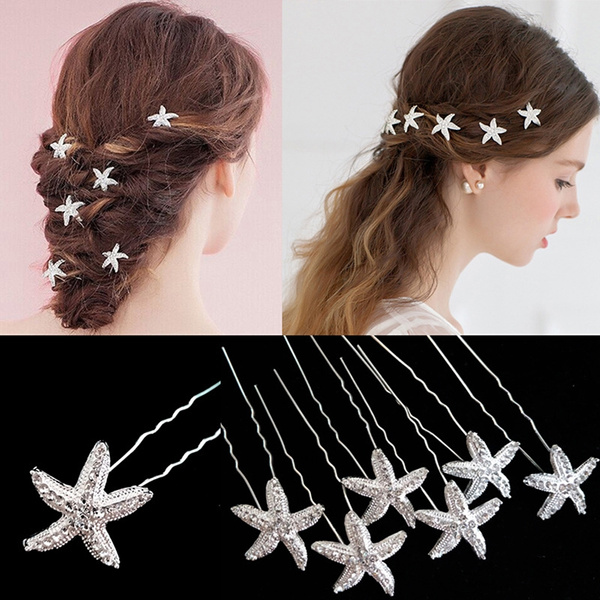 hair jewelry, starfish, bridehairpin, Bride