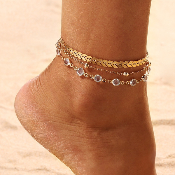 Beaded Bracelets, Crystal, beadsanklet, summeranklet