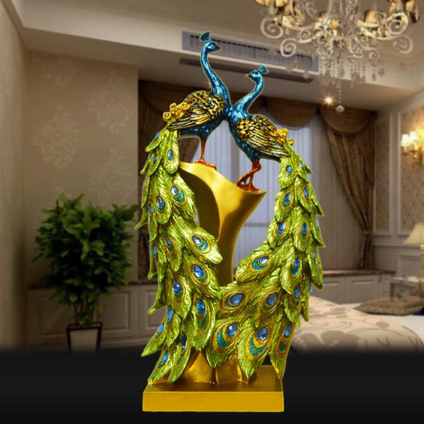 Couple Peacock Resin Decor Home Ornament Decorations Figurine Statue Sculpture Wish