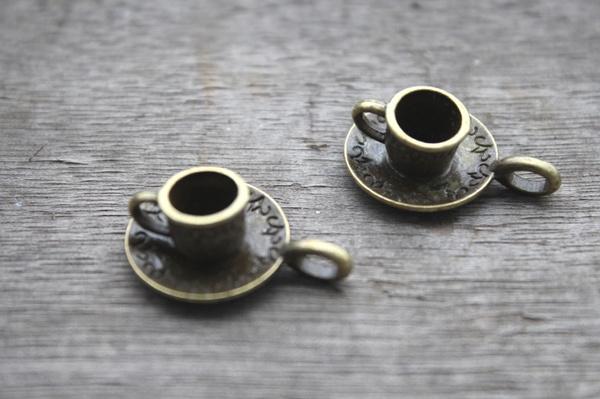 Antique, Coffee, cupandsaucerpendant, Jewelry