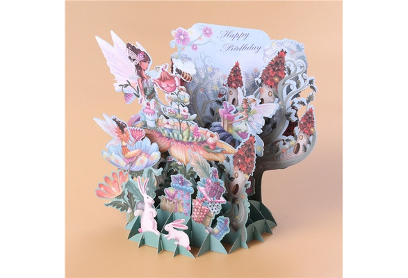 3D Pop up Greeting Cards Rabbit Envelope Post Card Birthday Party Decoration ND