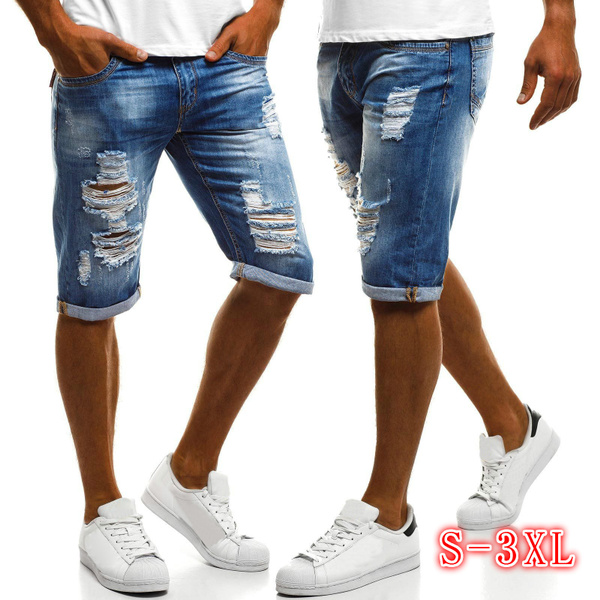 men's jeans, ripped, Shorts, Fashion