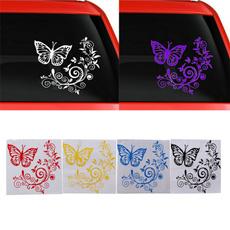 butterfly, Car Sticker, Flowers, glasssticker