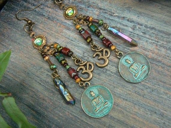 buddhaearring, pendantearring, Jewelry, zen