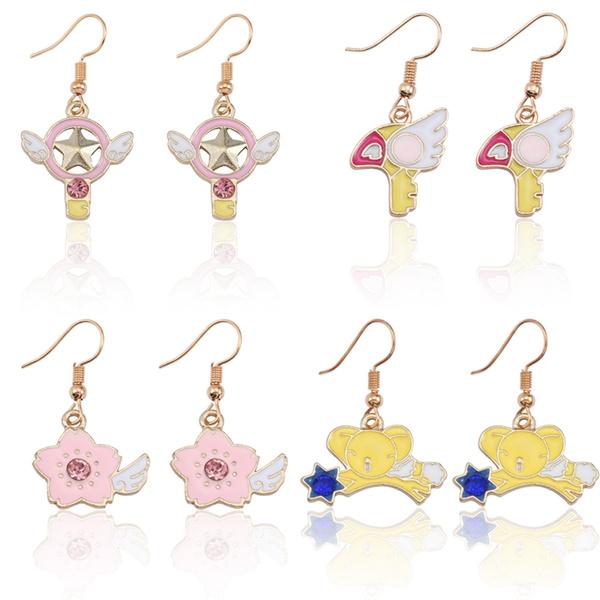 Fashion Anime Magic Sakura Jewelry Cherry Blossom Earrings For Women Star Angel Wings Mouse Cartoon Earring For Girl Kawaii Diy Wish