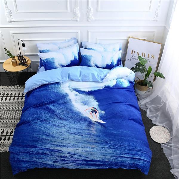 3d Surfing Quilt Cover Doona Set, Surf Bedding Queen