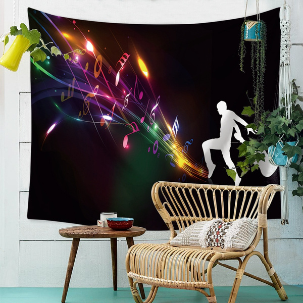Polyester, musicnotestapestrie, Home Decor, Colorful