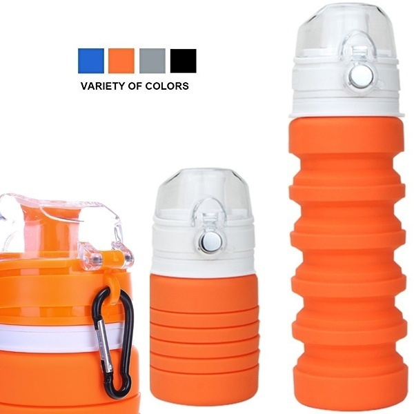 Collapsible Water Bottle Silicone Reusable Leak-Proof Travel Hiking Sports 500ML