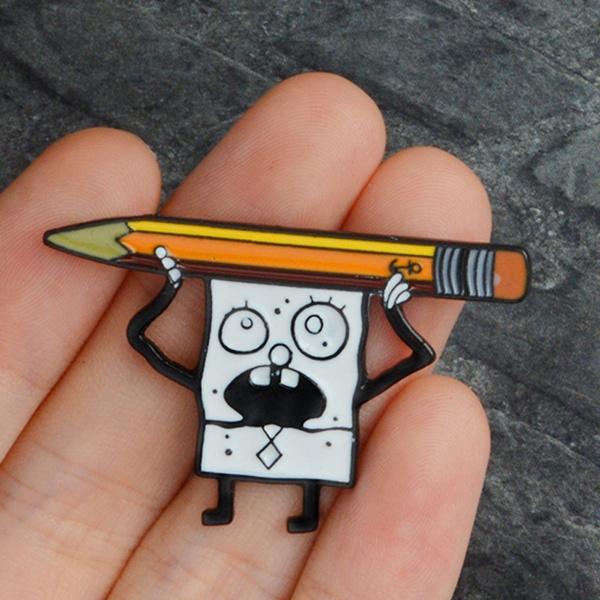 studentpen, pencilbag, doodlebobenamelpin, funnybrooch