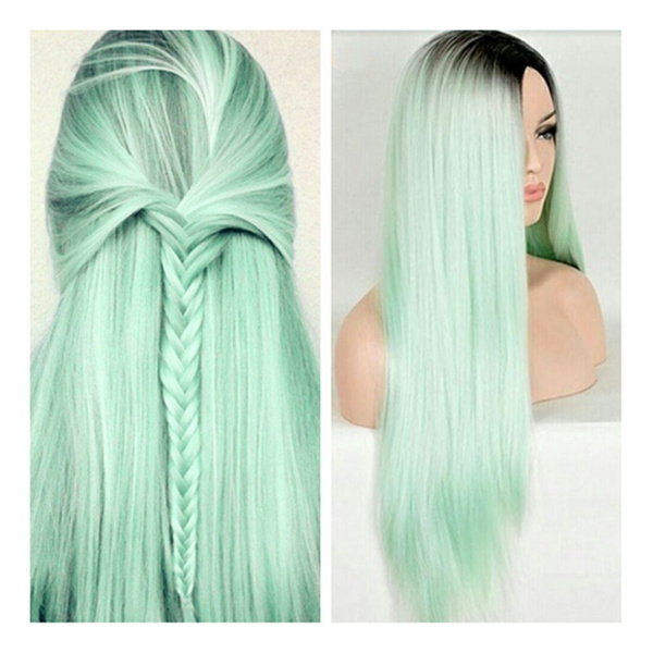 Hair Ombre Long Hair Sexy Kylie Jenner Cosplay Green Straight Synthetic 28 Wig Mint Wish