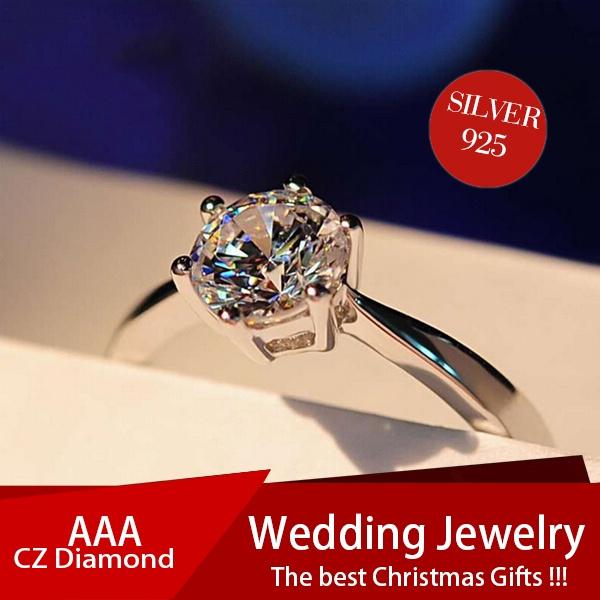 DIAMOND, Princess, 925 silver rings, Elegant