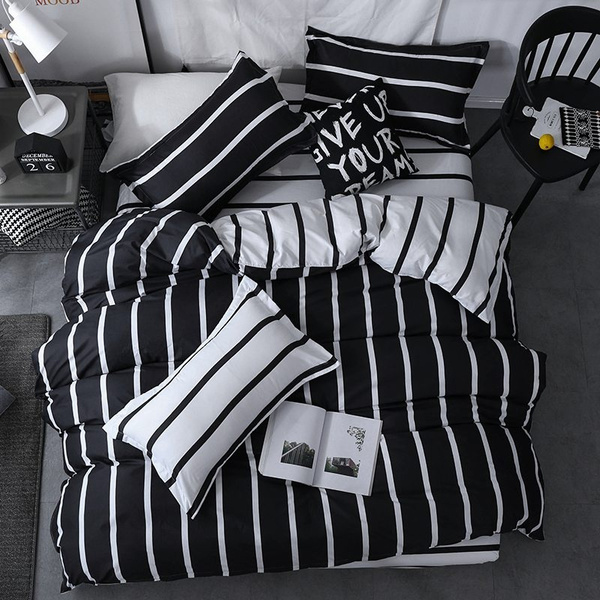 Striped Duvet Cover White Bed Linen, Black And White Striped Bedding Queen