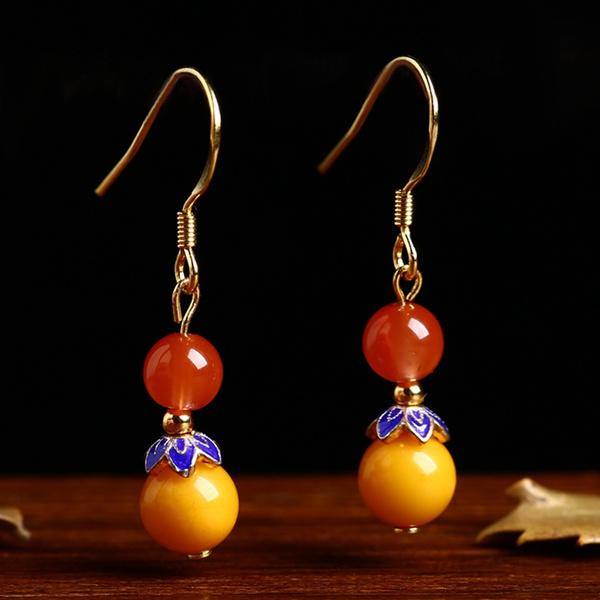 amber, Ear Drops, dropgreen, Jewelry
