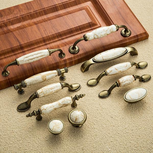 1pcs Antique Furniture Handles Marble, Antique Kitchen Cabinet Door Knobs